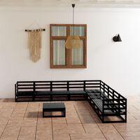 vidaXL 10-tlg. Garten-Lounge-Set Schwarz Massivholz Kiefer