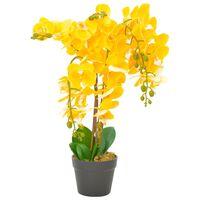 vidaXL Künstliche Orchidee mit Topf Gelb 60 cm