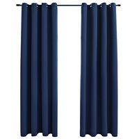 vidaXL Verdunkelungsvorhänge mit Metallösen 2 Stk. Blau 140x225cm