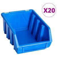 vidaXL Behälter für Kleinteile 20 Stk. Stapelbar Blau Kunststoff