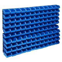 vidaXL 128-tlg. Behälter-Set für Kleinteile mit Wandplatten Blau