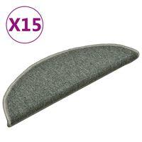 vidaXL Treppenmatten 15 Stk. Dunkelgrün 56x17x3 cm