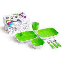 Munchkin 7-tlg. Kinder-Geschirrset Color Me Hungry Grün