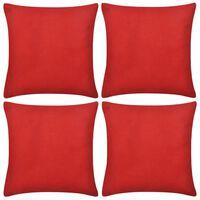 4 rote Kissenbezüge Baumwolle 40 x 40 cm