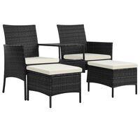 vidaXL 2-Sitzer-Gartensofa mit Tisch & Hocker Poly Rattan Schwarz