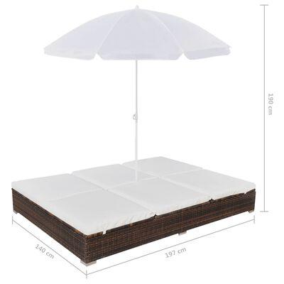 vidaXL Outdoor-Loungebett mit Sonnenschirm Poly Rattan Braun, Braun