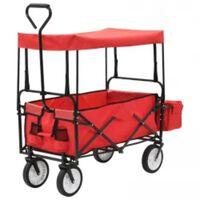 vidaXL Klappbarer Handwagen mit Sonnendach Stahl Rot