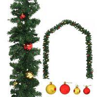 vidaXL Weihnachtsgirlande Geschmückt mit Kugeln 5 m