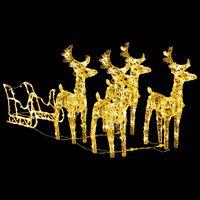 vidaXL Weihnachtsdekoration Rentiere & Schlitten 280x28x55 cm Acryl