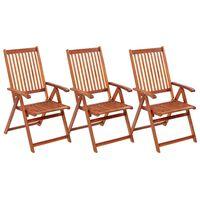 vidaXL Klappbare Gartenstühle 3 Stk. Massivholz Akazie