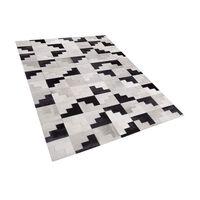 Teppich Kuhfell Schwarz-grau 160 X 230 Cm Patchwork Kurzflor Efirli