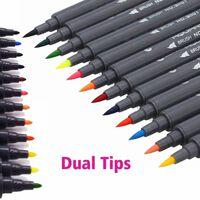 12 Farben Dual Tip Pinsel Stifte Mit Fineliner Spitze Art Marker