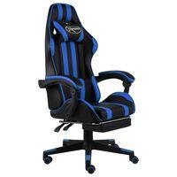 vidaXL Gaming-Stuhl mit Fußstütze Schwarz und Blau Kunstleder