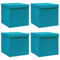 vidaXL Aufbewahrungsboxen mit Deckel 4 Stk. Babyblau 32×32×32cm Stoff