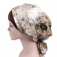 Frauen Satin Turban Kopftuch Seide Duschhaube, Nachtschlafhaube
