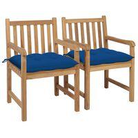 vidaXL Gartenstühle 2 Stk. mit Blauen Kissen Massivholz Teak