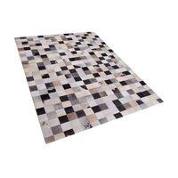 Teppich Leder braun-beige 160 x 230 cm Patchwork RIZE