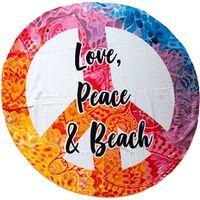 Mikrofaser Strandtuch, Love, Peace & Beach
