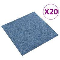 vidaXL Teppichfliesen 20 Stk. 5 m² 50x50 cm Blau