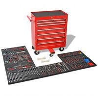 vidaXL Werkstattwagen mit 1125 Werkzeugen Stahl Rot