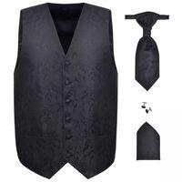 Herren Paisley-Hochzeitswesten-Set Größe 56 Schwarz