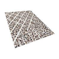 Teppich Kuhfell Grau-braun 160 X 230 Cm Patchwork Kurzflor Akdere