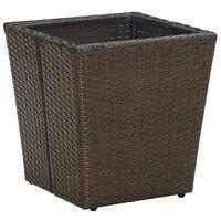 vidaXL Beistelltisch Braun 41,5x41,5x44 cm Poly Rattan und Hartglas