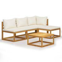 vidaXL 5-tlg. Garten-Lounge-Set mit Auflagen Creme Massivholz Akazie