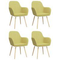vidaXL Esszimmerstühle mit Armlehnen 4 Stk. Grün Stoff