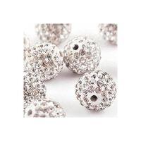 10 Stück 10mm Weiße Shamballa Kristallgemusterte