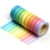 10x Dekorative Regenbogen Klebeband Papier Washi Masking Tape