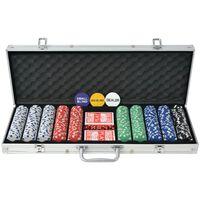 vidaXL Poker Set mit 1.000 Chips Aluminium