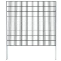 vidaXL Gabionenzaun Stahl Verzinkt 2,008x1,83 m Gesamtlänge 16 m Grau