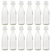 vidaXL Glasflasche mit Bügelverschluss 12 Stk. 1 L