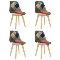 vidaXL Esszimmerstühle 4 Stk. Patchwork-Design Mehrfarbig Stoff