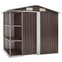 vidaXL Gartenhaus mit Regal Braun 205x130x183 cm Eisen
