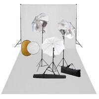 vidaXL Fotostudio-Set mit Leuchten, Schirmen, Hintergrund, Reflektor