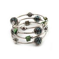 Silberfarbenes Dehnbares Perlen-mehrstrang-armband -