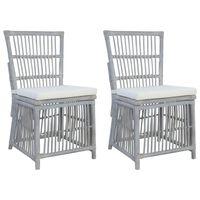 vidaXL Esszimmerstühle mit Kissen 2 Stk. Grau Natürliches Rattan