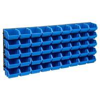 vidaXL 48tlg. Behälter-Set für Kleinteile mit Wandplatten Blau Schwarz