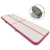 vidaXL Aufblasbare Gymnastikmatte mit Pumpe 400x100x15 cm PVC Rosa
