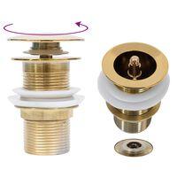 vidaXL Ablaufgarnitur ohne Überlauf Golden 6,4x6,4x9,1 cm
