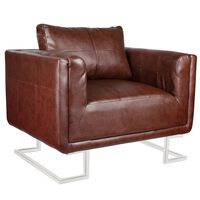 vidaXL Würfel-Sessel mit verchromten Füßen Braun Kunstleder