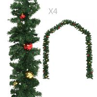 vidaXL Weihnachtsgirlanden 4 Stk. mit Kugeln Grün 270 cm PVC