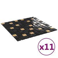 vidaXL Selbstklebende Mosaikfliesen 11 Stk Schwarz Golden 30x30cm Glas