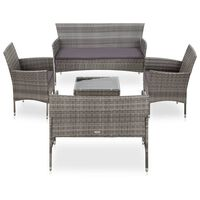 vidaXL 5-tlg. Garten-Lounge-Set mit Auflagen Poly Rattan Grau
