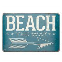 Stranddose Schild Plakette Metall Vintage Platte Für