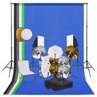 vidaXL Fotostudio-Set mit Lampen, Schirmen, Hintergrund, Reflektor