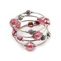 Silberfarbenes Dehnbares Perlen-mehrstrang-armband - Hellrosa