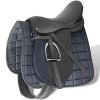 "Pferdereiten Sattelset 17,5"" echtes Leder schwarz 12 cm 5-in-1"